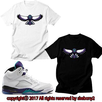 NEW CUSTOM T SHIRT AIR JORDAN 5 PURPLE AND TEAL matching TEE JD 5 1-4-1 Air Purple Tee