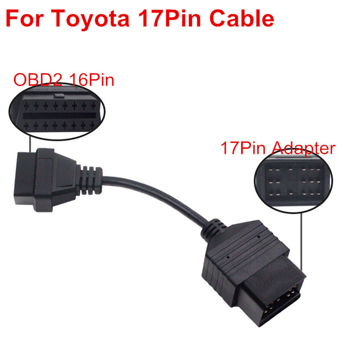 For Toyota Car Diagnostic Connector Adapter 17 Pin to 16 Pin OBD2 OBDII Cable