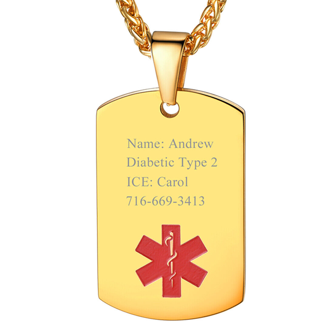 U7 Men Customize Engrave Dog Tag Stainless Steel Medical Ale