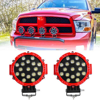 2X 7inch 51W Round Led Work Lights Bull Bar Driving Pods Bike Truck Off Road 4WD ()