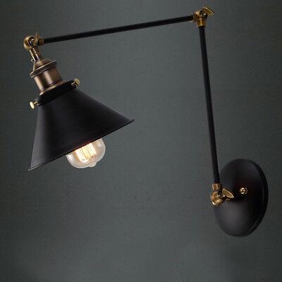 Loft Industrial Long Swing Arm Wall lamp Fixture Black Edison Bulb Sconce Light Black Swing Arm Wall Lamp