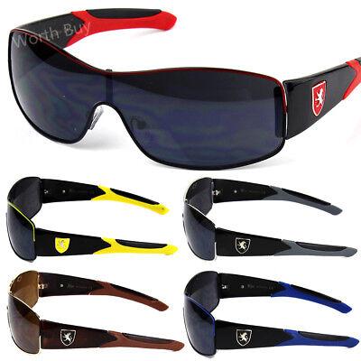 Mens Khan Shield Sports Sunglasses Fashion Wrap Around Outdoor Retro Vintage 80s](80s Wrap Sunglasses)