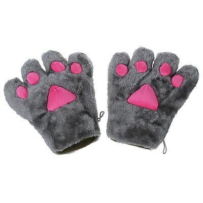 1 pair Cat Paws Tattoo Plush Glove Cosplay Party Grey and Pink - Cat Paws Tattoo