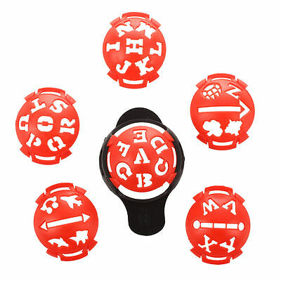 1 x Golf Ball Marker Base with Different Templates - Red and Black Z9X1