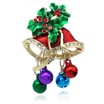 Christmas Bell Poinsettia Colorful Jingle Sound Bells Brooch Pin Holiday Gift ()