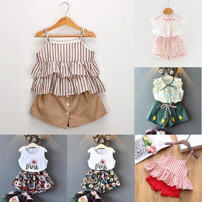 2PCS Baby Kids Girls Summer Outfits Toddler Top Shirt Pants Shorts Clothes Set ()
