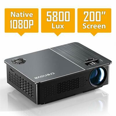 "Native 1080P Video Projector LED 200"" Display 5800Lux iOs/Android XPE760 5000:1"
