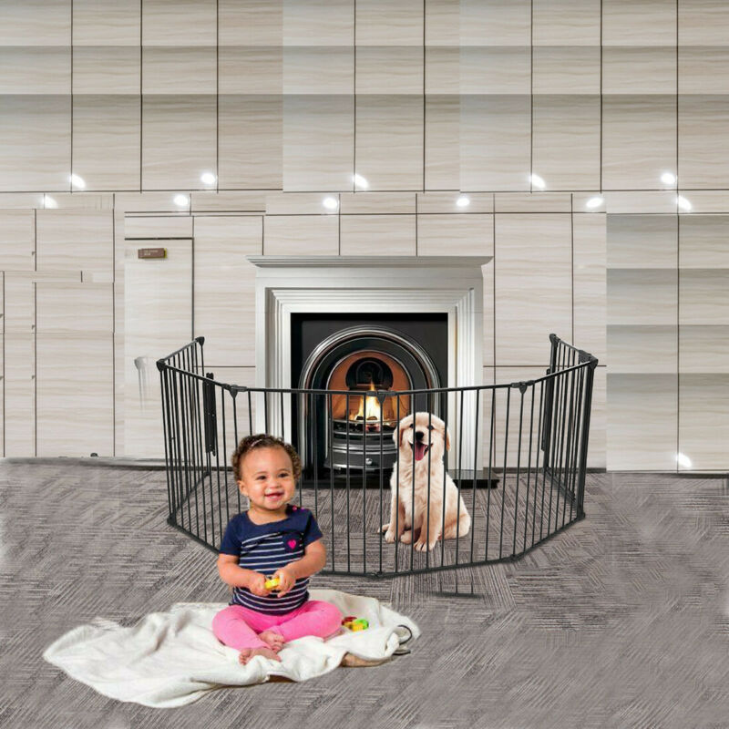 Baby Pet Dog Extra Wide Safety Metal Gate Playpen Indoor Out