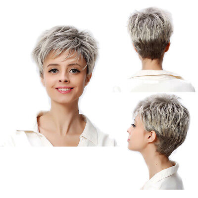 Hot Cosplay Women (Women Gray Blonde Cosplay Hot Sell Natural Short Straight Full Hair Wig)