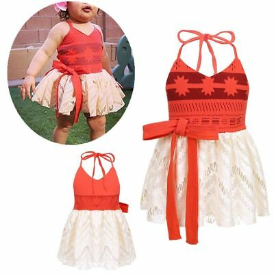 Baby Girls Princess Moana Costume Party Dresses Cosplay Fancy Dress Backless - Girls Dresses Fancy