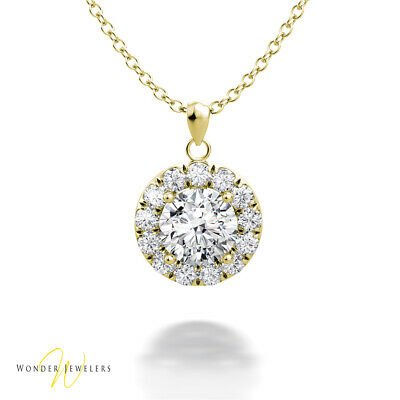 0.95ctw GIA Round Diamond Halo Necklace Pendant 14K Gold D/VS2 (6301124913)