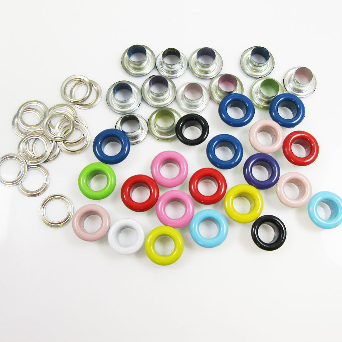 50 x ROUND 5mm COLOURED EYELETS /& WASHERS LEATHER CRAFTS REPAIR DIY CRAFTS