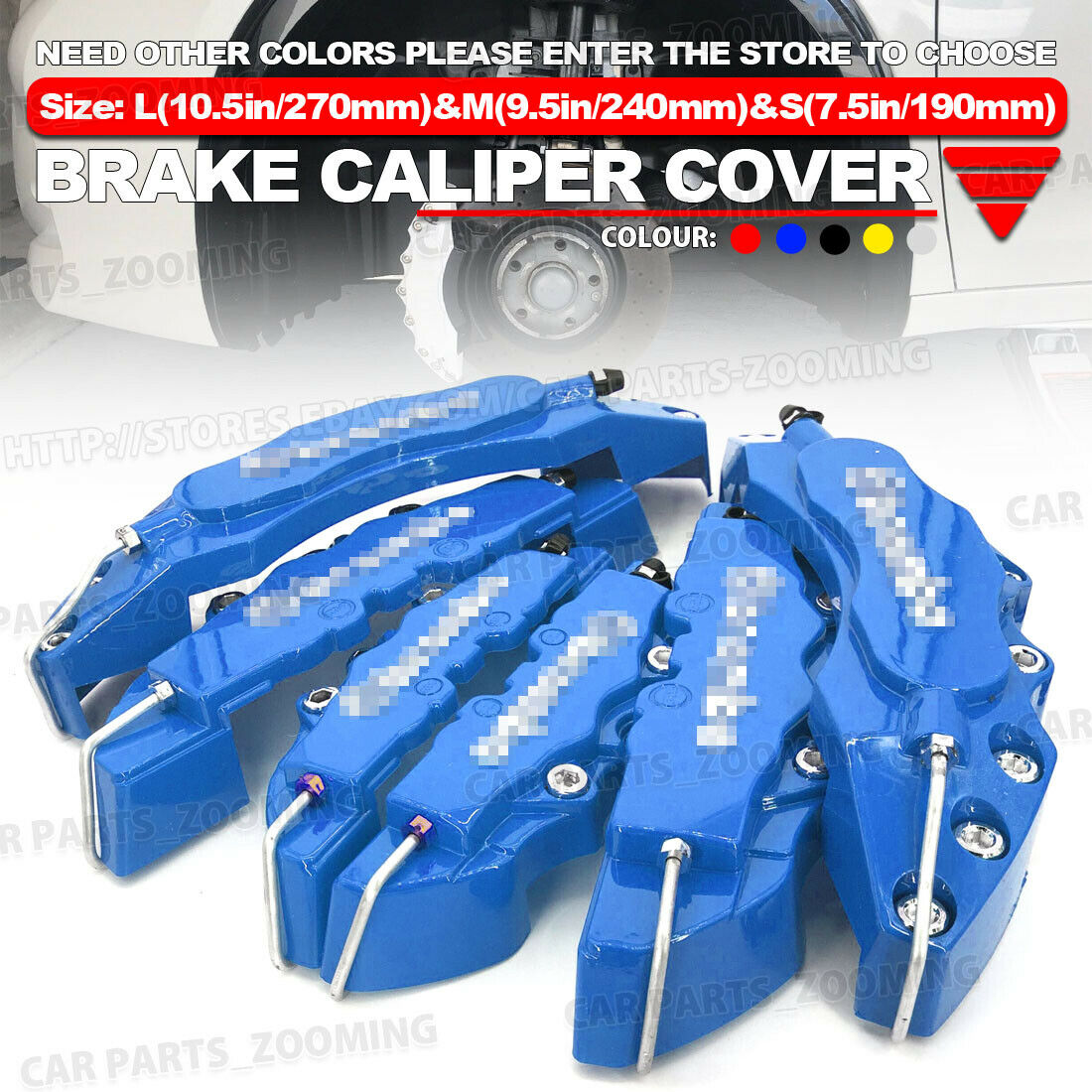 6x Red 3D Style Brake Caliper Cover Universal Car Disc Front Rear Kit L+M+S WL02