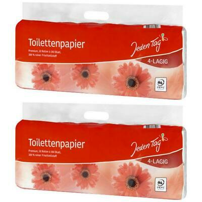 2 x JedenTag Toilettenpapier 4-lagig 10 x 160 Blatt