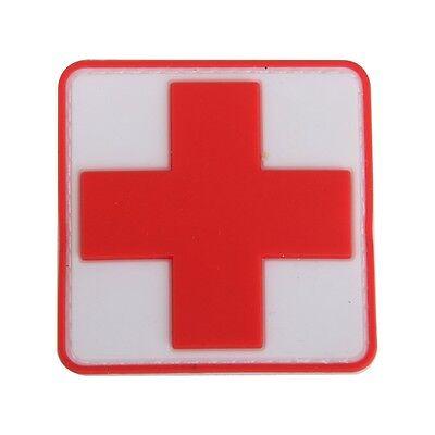 Outdoor Erste Hilfe PVC rotes Kreuz Haken Klettverschluss Abzeichen Patch