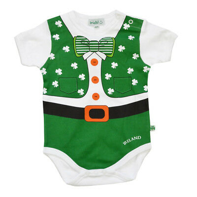 Full Leprechaun  Baby Vest With a Shamrock and Bow Tie Design (Bow Tie With A Vest)