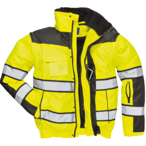 Portwest UC466 HiVis Reflective Bomber Rain Jacket with Waterproof Taped Seams