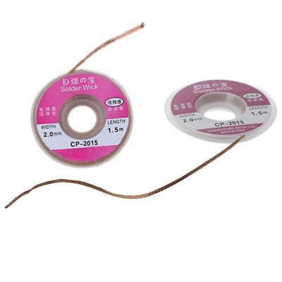2X 2.0MM Soldadura Mecha Removedor Desoldador Trenza Alambre Ventosa Cable