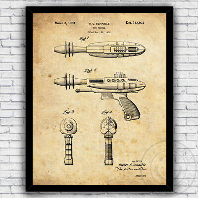 Retro Space Gun (Ray Gun Retro Space Toy Sci Fi 1950s Patent Art Print - Size and Frame)