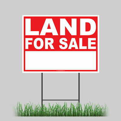 Large Outdoor 24x18 Land For Sale Yard Sign With Ground Stake