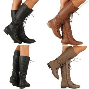 Lace Up Knee High Fashion Boots