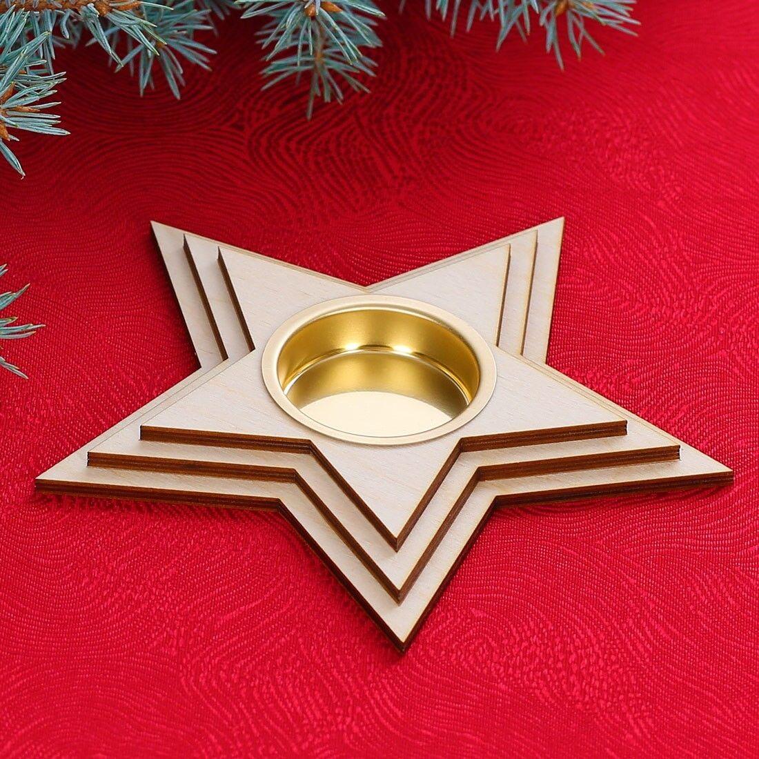 Motiv Teelichthalter Kerzenhalter - Dekoration aus Holz für Weihnachten