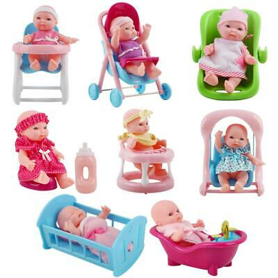 "deAO Set of 8 Mini 5"" Baby Dolls with Variety of Small Scale Accessories"