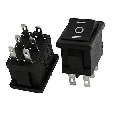10 Pcs DPDT ON-OFF-ON Snap In Rocker Switch 6A/250V 10A/125V AC AD
