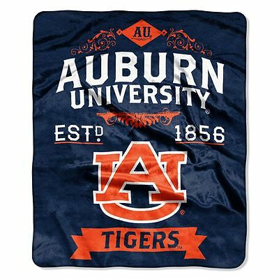 (Auburn Tigers 50x60 Plush Raschel Throw Blanket - Label Design [NEW] NCAA Fleece)