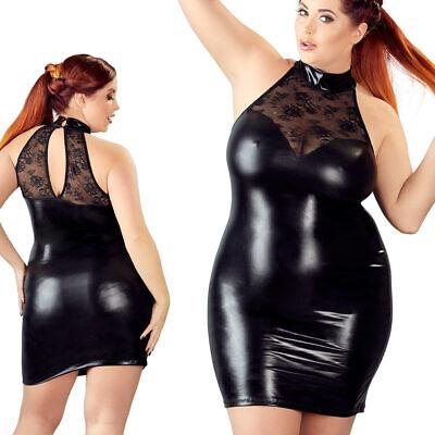 Queen Size Minikleid XL 2XL 3XL 4XL Spitze Wetlook Stehkragen Kleid