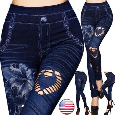 Leg Denim Trousers (US Women Leggings Skinny High Waist Jeans Trousers Denim Stretchy Pencil Pants )