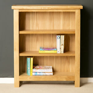 London Oak Small Bookcase Light Low Solid Wood Shelving New