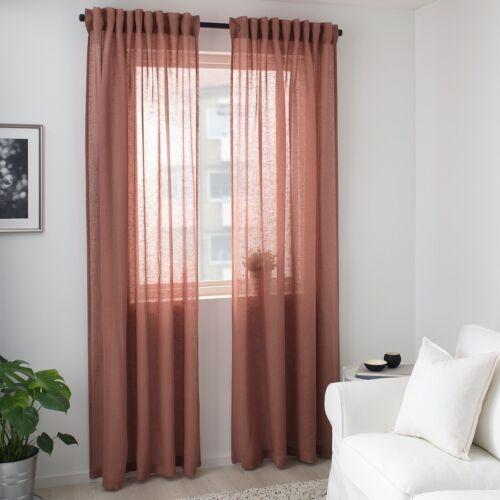 "Ikea LEJONGAP Curtains 2 panels 57 x 98"", NEW Light Brown Pi"