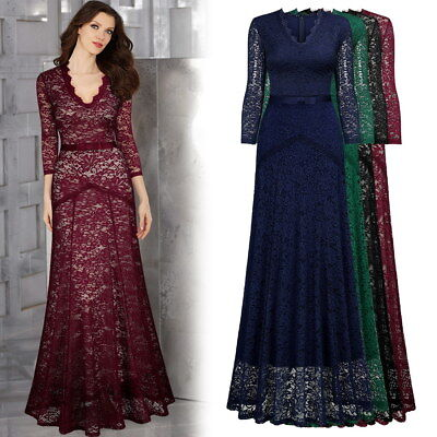 Women's Formal Maxi Lace Dress with V neck for an Elegant Evening Wear