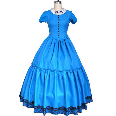 Tim Burton Alice In Wonderland 2 Cosplay Blue Fancy Dress Costume Prom Ball Gown - Alice In Wonderland Tim Burton Dress