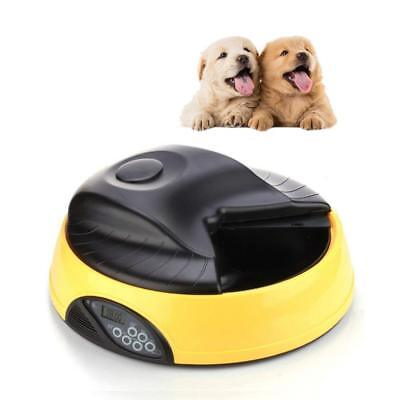 4 Meal Programmable Timer Automatic Pet Dog Cat Feeder Water Tray Bowl Yellow