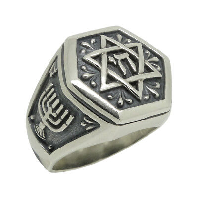 Star of David sterling silver 925 men's ring Jewish Judaism Handcrafted US Sizes Sterling Silver Mens Star