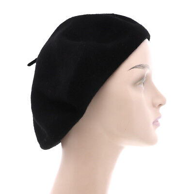 Cute Black Beret Tam Hat French Slouchy Beanie Artists Wool Classic Beret - Black French Hats