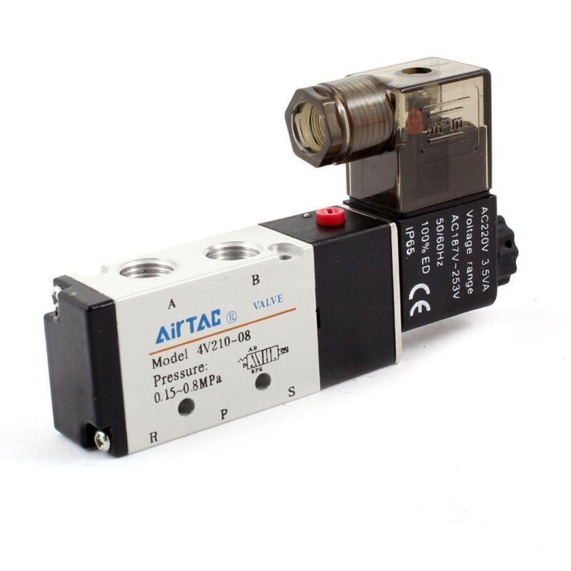 """4V210-08 5 Way 2 Position Solenoid Pneumatic Air Valve 1/4"""" BSPT AC 110V New"""