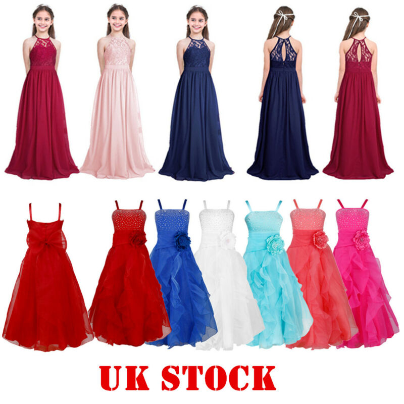 UK Flowers Girls Dress Kids Princess Party Bridesmaid Wedding Pageant Maxi Gown