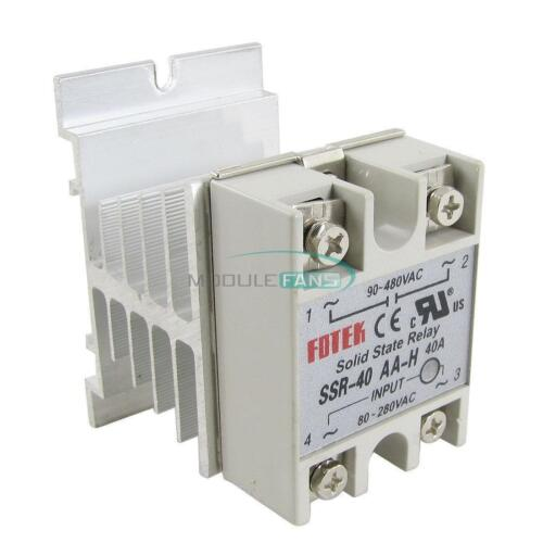 40A SSR-40AA Solid State Relay Module 80-250V AC / 24-380V  Aluminum Heat Sink