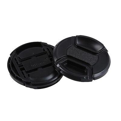 2 Pcs 62mm Plastic Clip On Front Lens Cap Cover Black for Camera AD