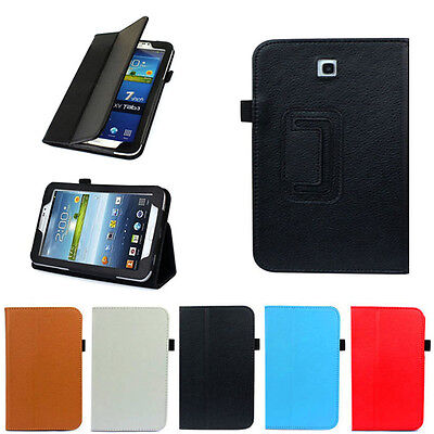 """Folio Leather Cover Case Stand For Samsung Galaxy Tab 3 7.0"""" 7"""" Tablet P3200"""