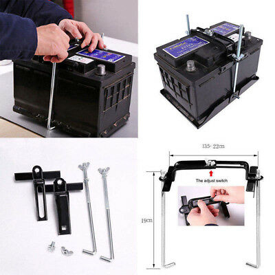 19cm Universal Metal Car Battery Tray Adjustable Hold Down Clamp Bracket Kit