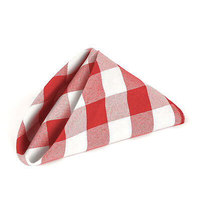 100 pcs Gingham Checkered Check Polyester Dinner Napkins 20