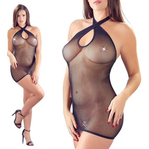 """Sexy Damen Minikleid S M L Neckholder Netz Kleid Dessous Reizwäsche """"Kendija"""""""