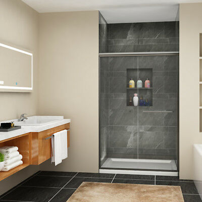"""Jolly SHOWER Sliding Shower Doors 48"""" x 72"""" Semi-Frameless Bypass Glass Brushed"""