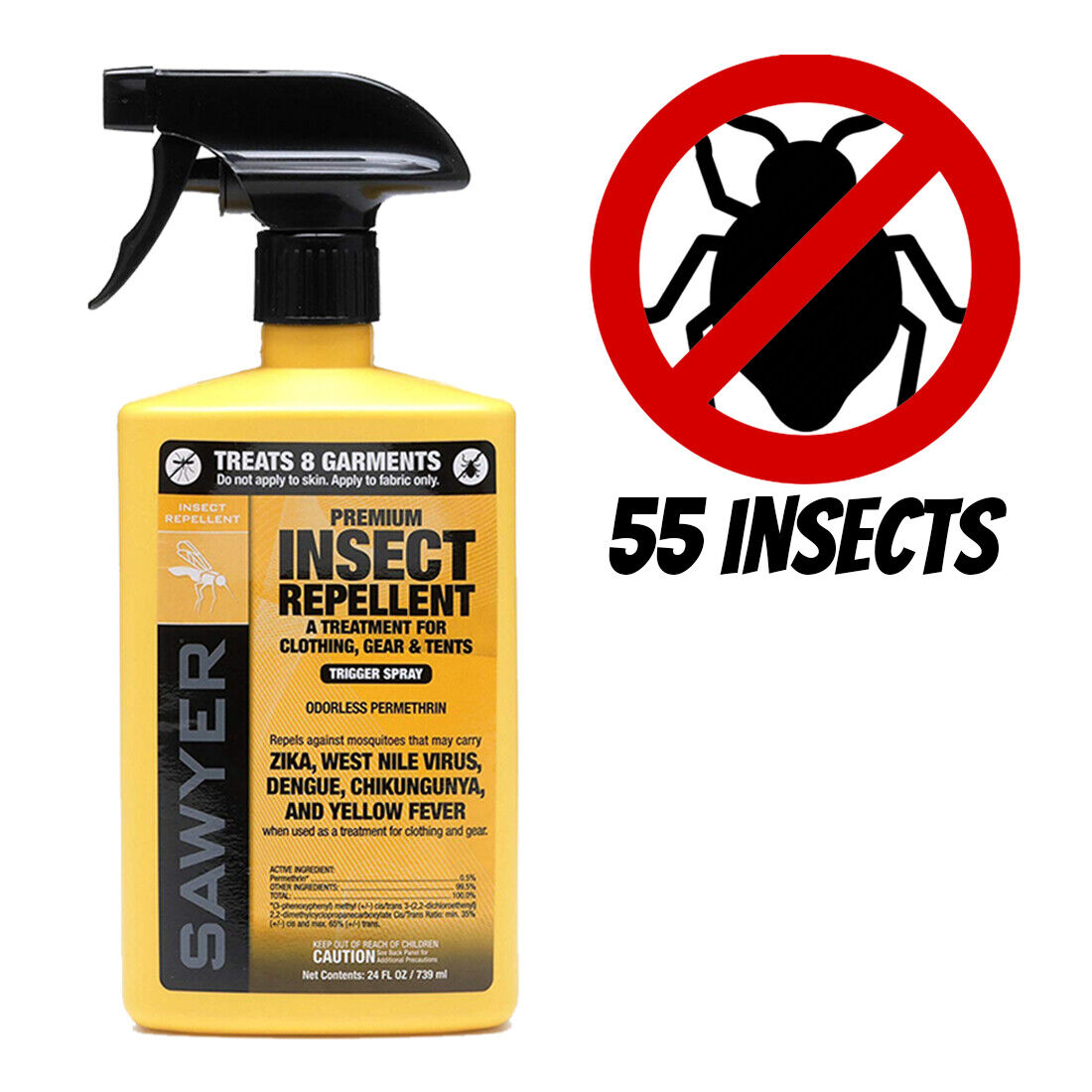Permethrin Clothing Insect Repellent with Spray for Yellow F