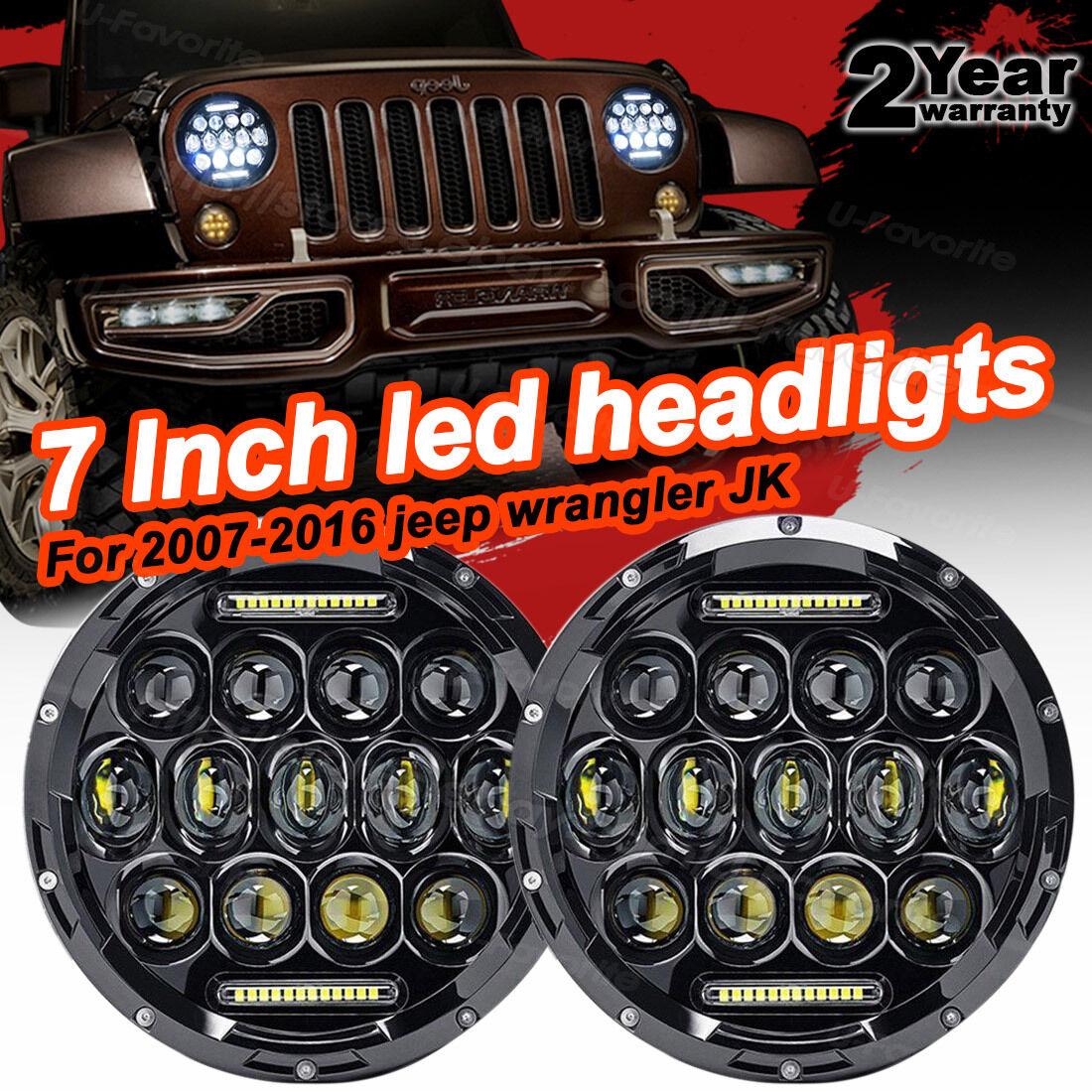 "firebug jeep wrangler 7"" round led headlights lamp with drl, jk"