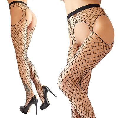 Sexy Straps-Strumpfhose Schritt offen Sexstrumpfhose Grobnetz Netz S M L